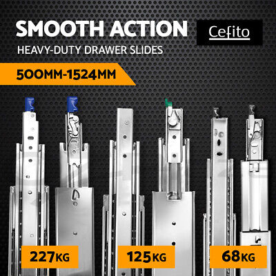 Cefito 68 125 227KG 500-1524mm Drawer Slides Ball Bearing Runners 4WD Heavy Duty