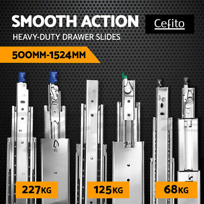 Cefito Drawer Slides Ball Bearing Runners 4WD Heavy Duty 68 125 227KG 500-1524mm