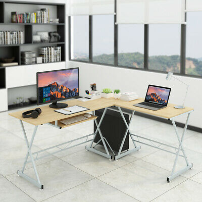 Office L-Shaped Corner Computer Desk PC Table Laptop Study Workstation CPU Stand