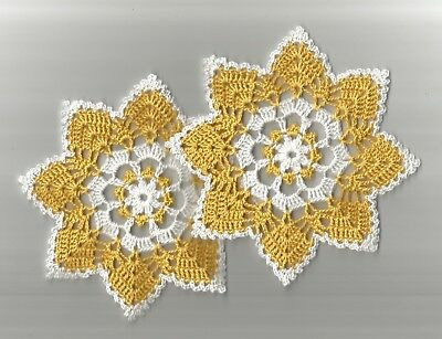 """2 Crochet Doilies Doily Lace 6"""" Golden Yellow and White"""