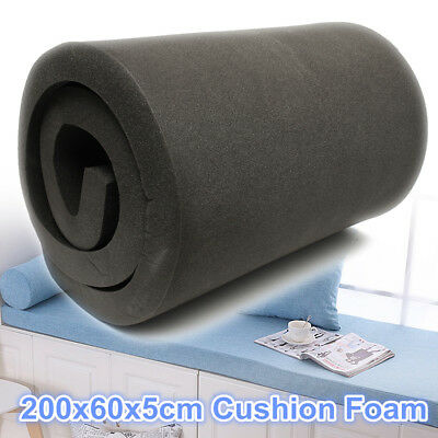 200x60x5cm Black High Density Seat Foam Cushion Replacement Upholstery Firm Pads