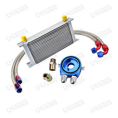 AN10 Universal Oil Cooler Kit + Fitting Kit + Sandwich + Braided Hose - UK Stock