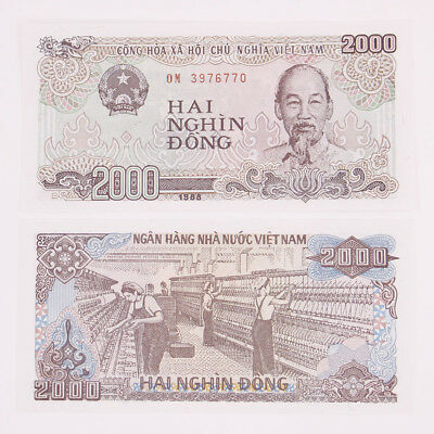 Vietnam 2000 Dong 10 Pcs Banknotes Currency Paper Money Uncirculated Real