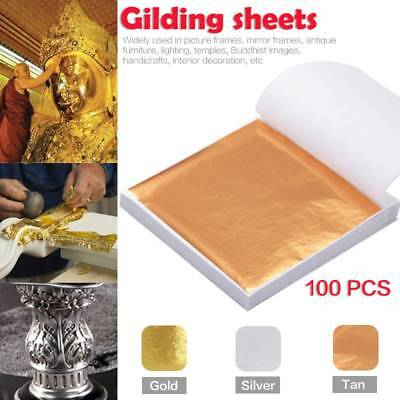 100sheets Imitation Gold Silver Copper Leaf Foil Paper Gilding Art Craft 8*8.5cm