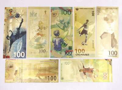 7 Pcs 2018 FIFA World Cup Russia Commemorative Banknote Gold Crafts Gift New