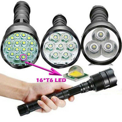 Tactical 90000LM T6 LED Super Bright Light Rechargeable Flashlight Torches Lamp#