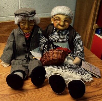 Grandma And Grandpa Porcelain Dolls 15 Vintage Hand Painted