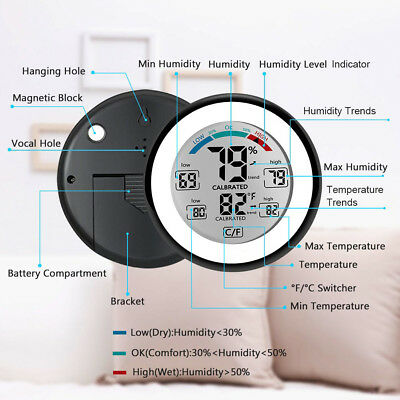 LCD Display Digital Hygrometer Thermometer Humidity Meter Indoor Temperature
