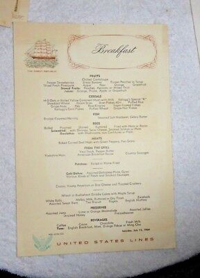 Vintage Menu Cruise United States Lines 1964 Ss United States The Great Republic