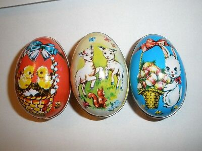 Lot of 3 Vintage British Hong Kong Tin Litho Easter Eggs Chicks, Lambs, Bunny