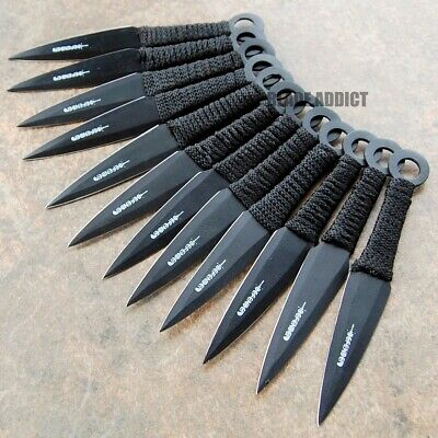 12PC Black Tactical Ninja Fixed Blade Naruto Kunai Throwing Knife Combat Set