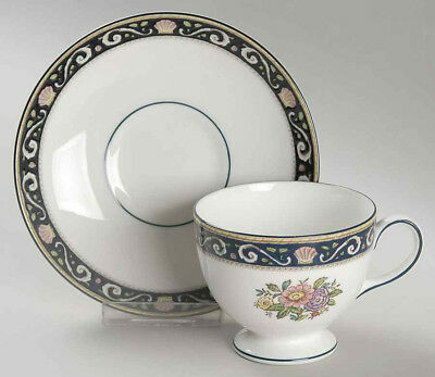 """WEDGWOOD Bone China """"Runnymede"""" BLUE Footed Cup & Saucer Sets"""