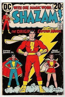 SHAZAM #3 (VG) Captain & Mary Marvel! DC 1973 Billy Batson! Upcoming Movie