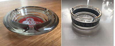 2 VINTAGE Glass ASHTRAY RIVIERA HOTEL & CAESARS PALACE Las Vegas Casino
