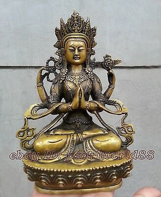 Collectables! Chinese handwork Ancient Dynasty copper Buddha Statue 20cm