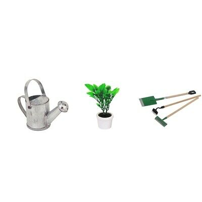 1:12 Dolls House Miniature Garden Tools Watering Can Green Plant White Pot