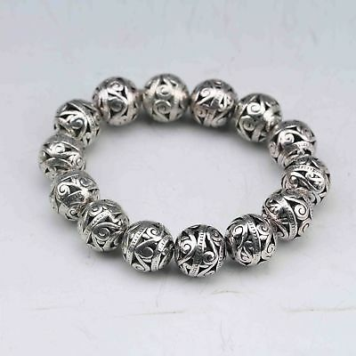 Chinese Collectable Old Tibet Silver Hand Carved Hollow small ball Bracelet TT09