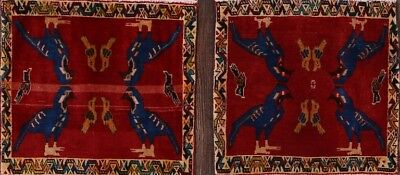 Bundle Pair of 2 Peacock Design Square Abadeh Persian Oriental Area Rug 2x2ft