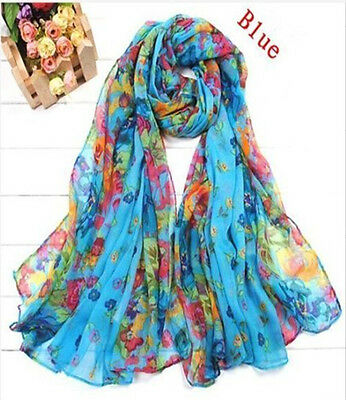 Women Long Shawl Floral Chic Stole Scarves Soft Chiffon Scarf Wraps 15Colors NEW