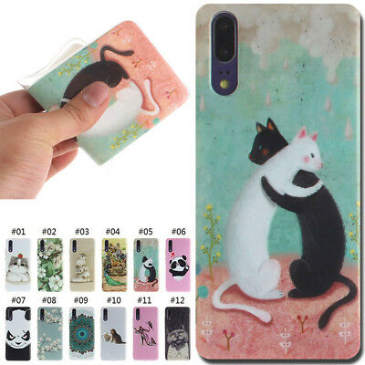 For Huawei TPU Soft Cute Back Case Painted Cover Silicone Rubber Various Skin