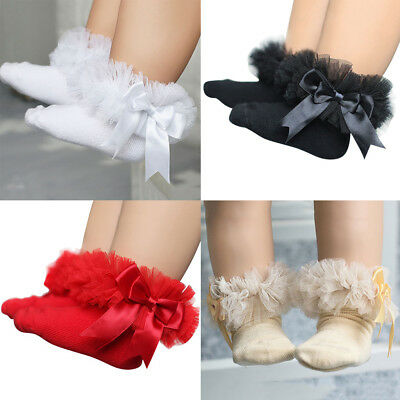 Infant Baby Girls Tutu Socks Bow Lace Infant Frilly Sock Cotton Short Socks
