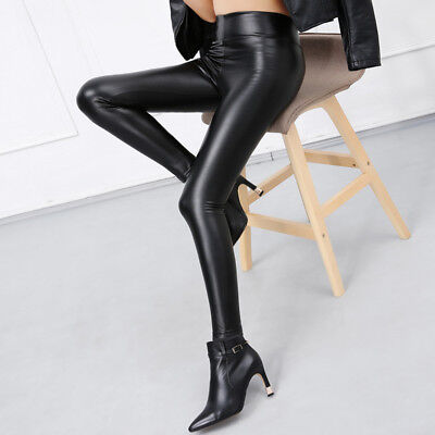 Women Skinny Faux Leather Stretchy Pants Leggings Pencil Tight Trousers Pretty