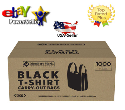 Member's Mark Black T-Shirt Carryout Bags (1,000 ct.)* **Best Plastic Quality**