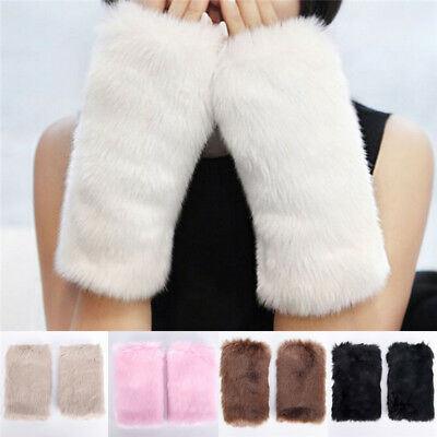 New Women Soft Fashion Fingerless Faux  Wrist Arm Warmer Furry Knitted'Glo NS