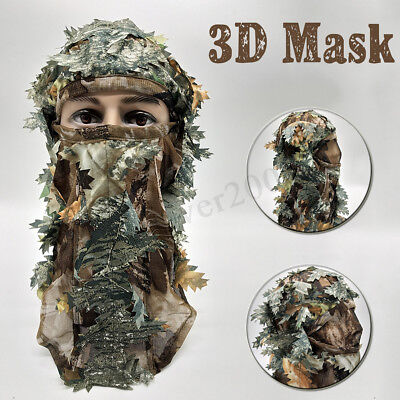 2c3c38c4a0e43 HUNTING FULL FACE Mask 3D Camouflage Head Cover Sneaky Leaf Hat Cap ...