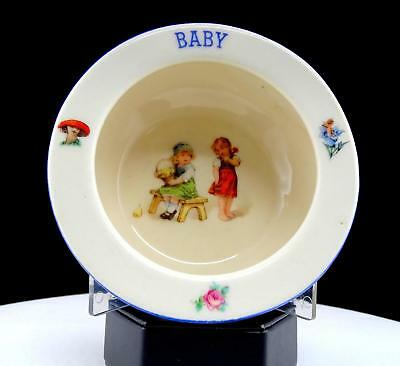 "CZECHOSLOVAKIA IRONSTONE ANTIQUE GIRLS WITH FRUIT BASKET 5 3/8"" BABY BOWL 1920's"