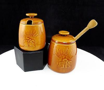 "Franciscan Usa Wheat Golden Brown Harvest 4 3/8"" Jam Jar And Honey Set 1951-1957"
