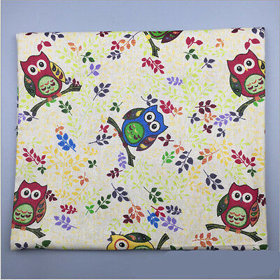 50x150cm Cotton Linen Fabric DIY Home Deco Fabric Colored Owl & Leaf F601 B#