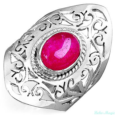 925 Sterling Silver Filigree Ring Ruby Gemstone Chunky Womens Size 9
