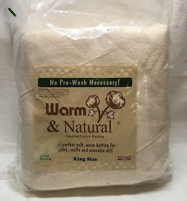 New VINTAGE WARM NATURAL King Cotton Batting Quilting