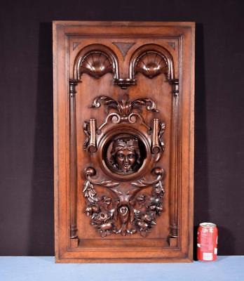 *Large French Antique Deep Carved Panel Door Solid Walnut Wood with Woman