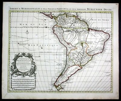 ca. 1730 South America Brazil Colombia Chile Peru map Karte Covens Mortier