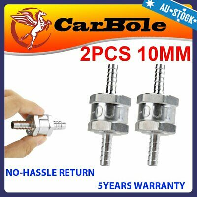"2x 10mm 3/8"" Alum One Way Check Valve Fuel Line Non-Return Petrol Water Oil Air"