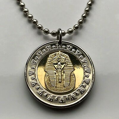 Egypt 1 Pound coin pendant Egyptian pharaoh King Tut Tutankhamun's mask n000515
