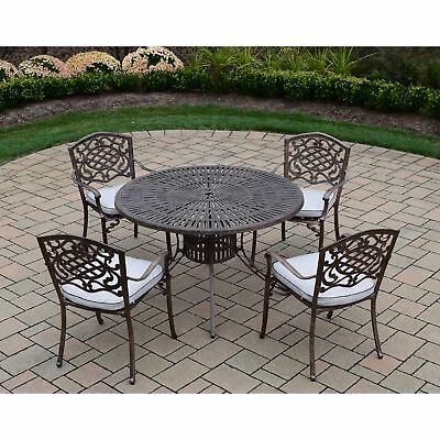 Cast Aluminum 5-piece Outdoor Dining Set, with Table, and 4 Chairs