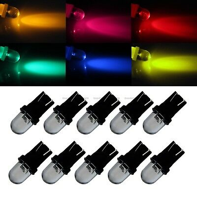 10 Pcs DC 12V 5W T10 147 152 158 W5W 259 RGB LED Side Car Wedge Light Lamp Bulb