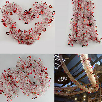 Promot 7M Valentines Decor Red White Tinsel Garland Home Decor Red Foil Hearts