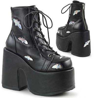 """Pleaser 5"""" Chunky Heel Lace Up Metal Women Boots Blk-Slv Hologram Vegan Leather"""