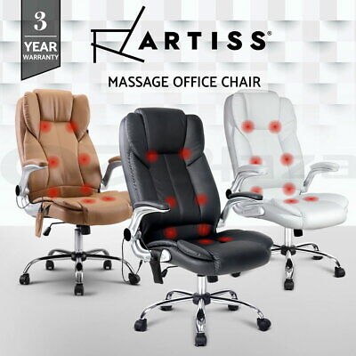 8 Point Massage Executive Office Computer Chair Remote PU Leather Armrests