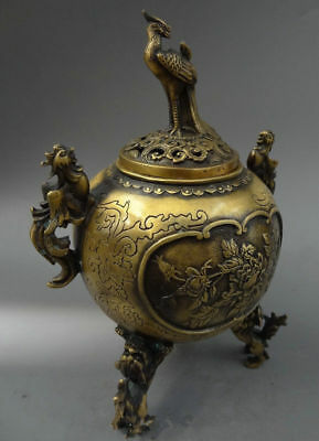 Chinese folk collection of bronze incense burner buddhist phoenix peacock lion