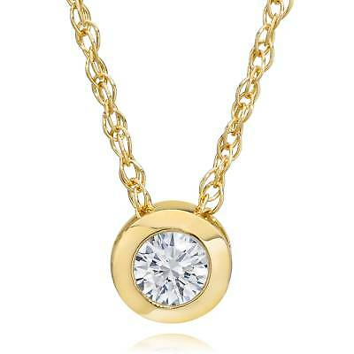14K Gold 1/4ct Round Lab Created Diamond Solitaire Bezel Pendant Necklace