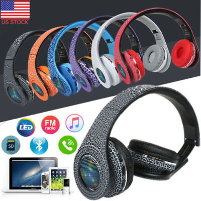Wired&Wireless Bluetooth Headphones Foldable Stereo Earphones LED Sports Headset