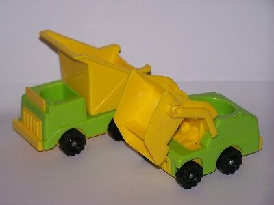Vintage Fisher Price Little People yellow Green Dump truck & loader Construction