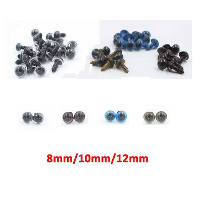 100pcs 6-20mm Mix Color Plastic Safety Eyes For Teddy Bear Puppet Felting Crafts