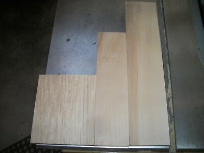 3 Pc Basswood Lumber Wood Air Dried Board Lot 346S Carving Block Blank Clear