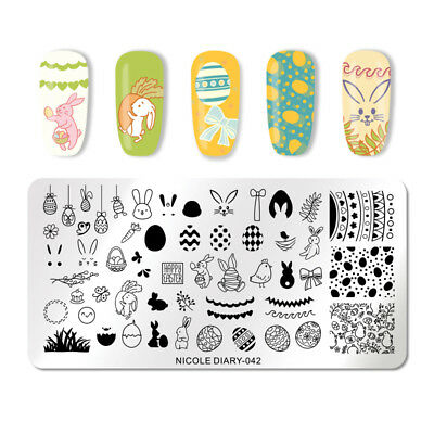 NICOLE DIARY Nail Stamping Plates Rectangle Easter Day Rabbit Nail Plate 042